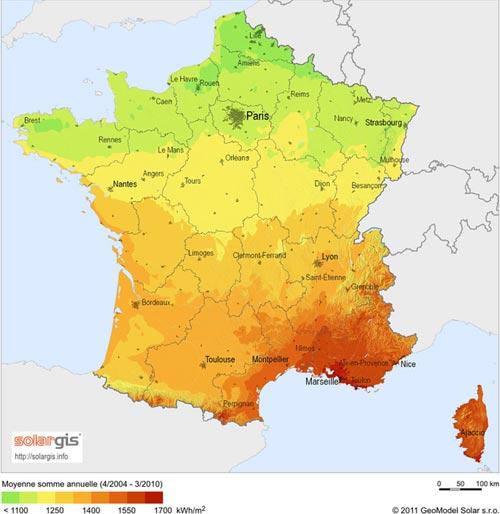 Rayonnement solaire en France